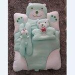 ชุดเซ็ตที่นอนคุณนู๋ สีเขียว ที่นอนหมี+หมอนหลุมลูกหมี+หมอนข้างลูกหมี งานดีค่ะ