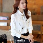 Star jewels &lace3D stitch luxury shirt
