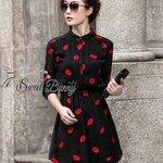 Kiss black chiffon dress by Sweet Bunny