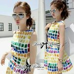 Lady Ribbon's Made Lady Coco Chanel Colorful Painting Dress