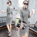 Sevy Zipper Half Sleeve Strips Edges Sweater Mini Dress Grey