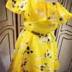 เดรสสีเหลืองลายดอกไม้สไตล์เกาหลี พร้อมเข็มขัด [ขายส่ง 450.-*]