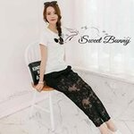 Sunglasses tee and lace pants set By sweet Bunny