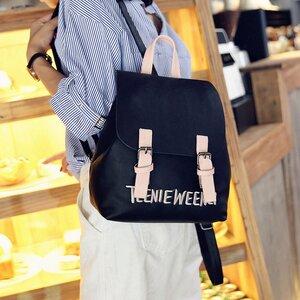 กระเป๋าเป้แฟชั่นสไตล์เกาหลี ลายปัก ทรงน่ารัก สีดำ