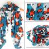 ผ้าพันคอชีฟอง ลายหมึกภาพวาดสีน้ำเงินแดง