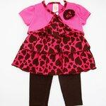 (พร้อมส่ง) Carters 3ชิ้น เสื้อสายเดี่ยวสีชมพูลายหัวใจระบาย และเสื้อคลุมสีชมพูปักดอกไม้ พร้อมเลคกิ้งเข้าชุด