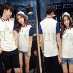 PRE-ORDER เสื้อคู่รักเกาหลีใหม่ เสื้อยืดผ้าฝ้ายคอปกแขนสั้นออกแบบสีพื้นเรียบ ญ/ช.เสื้อยืดแขนสั้น