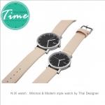 นาฬิกาคู่ นาฬิกาคู่รัก ยี่ห้อ N.IX watch รุ่น Duo Project - Silver/Cream