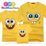 เสื้อครอบครัว ชุดครอบครัว เสื้อ พ่อ แม่ ลูก สีเหลือง ลาย สปองบ๊อบ ผลิตจากผ้าคอตตอน 100%