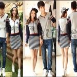 PRE-ORDER ชุดคู่รัก น่ารักๆ เกาหลีใหม่เนื้อผ้าฝ้ายแขนยาวลายทาง ญ.เดรสสั้นแขนยาว/ช.เสื้อยืดแขนยาว