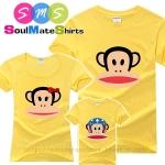 เสื้อครอบครัว ชุดครอบครัว เสื้อ พ่อ แม่ ลูก ลายลิงพอลแฟรงค์ สีเหลือง ผลิตจากผ้าคอตตอน 100%