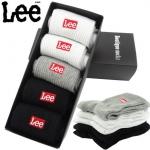 PRE-ORDER เซตถุงเท้ายาวผ้าฝ้าย ปักลายแบรนด์ LEE 5คู่/กล่อง