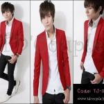 PRE-ORDER เสื้อสูทแฟชั่นเกาหลี สีแดงเข้ารูปทรงสวย