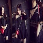 PRE-ORDER เดรสสั้นผู้หญิงเกาหลีใหม่ 2014 เดรสสั้นชุดถักตุ๊กตาน่ารักสุดๆ สีดำ